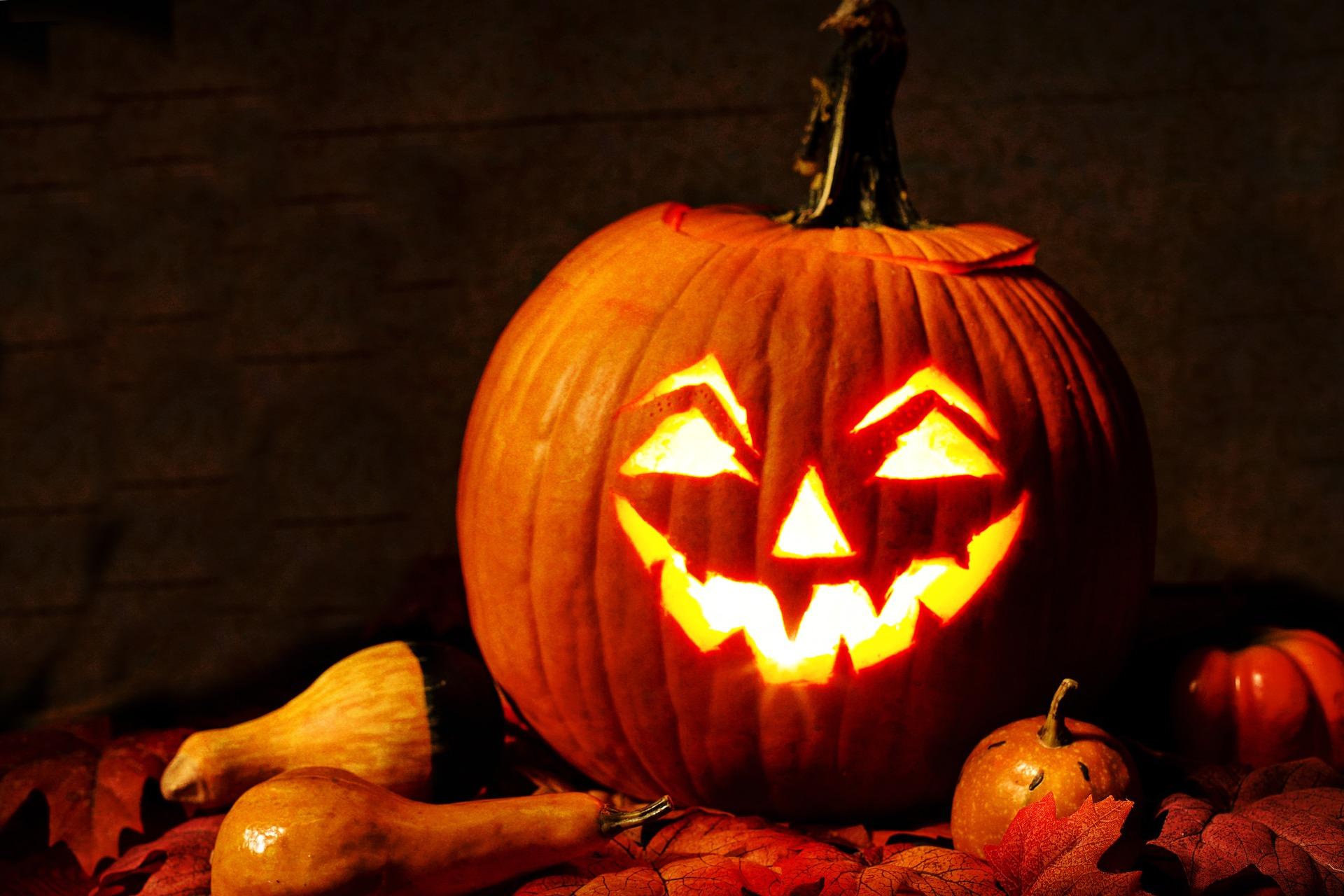 evil jack-o-lantern with leaves in dark
