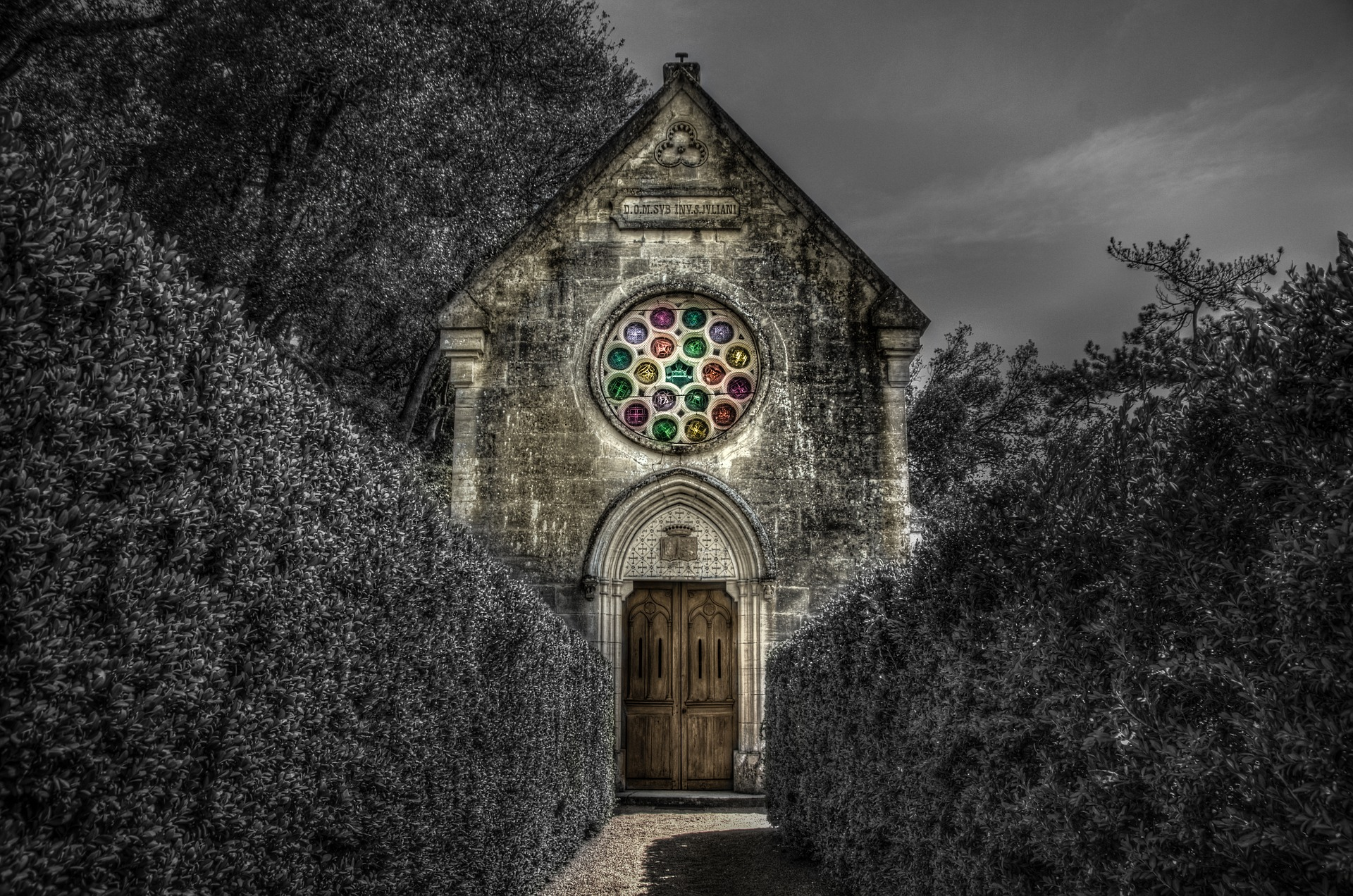 spooky catholic church in forest