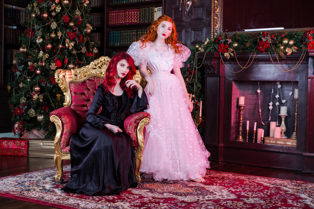 witches celebrating christmas